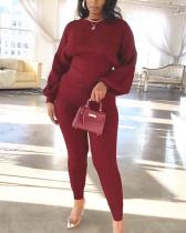 Plus Size Casual Fashion Puff Sleeve Two-piece Suit