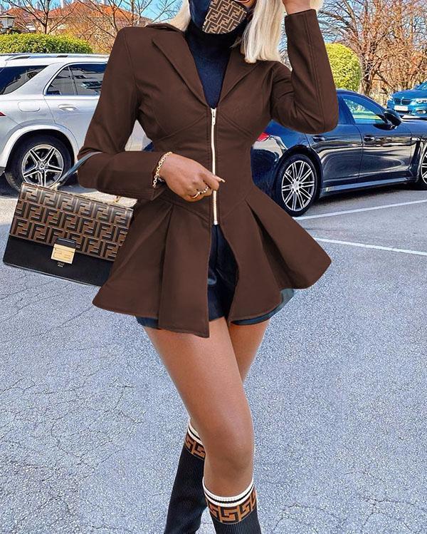 Slim-fit Lapel Zipper Mid-length Casual PU Leather Jacket Coats