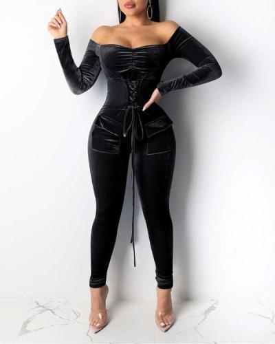 Fashion Casual Eyelet Tie Jumpsuit