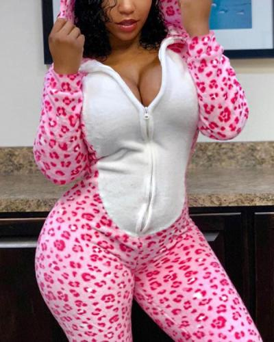 Cosplay Leopard Print Sexy Hooded Jumpsuit with Tail