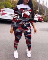 Camouflage Letter Stitching Sports Hooded Two-piece Suit