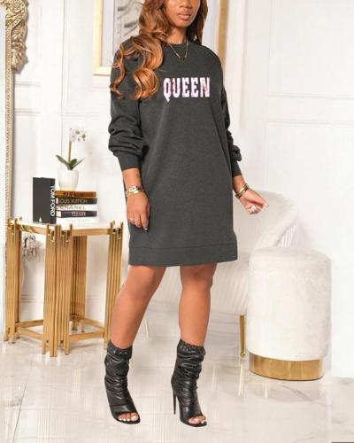 QUEEN Letter Print Base Dress