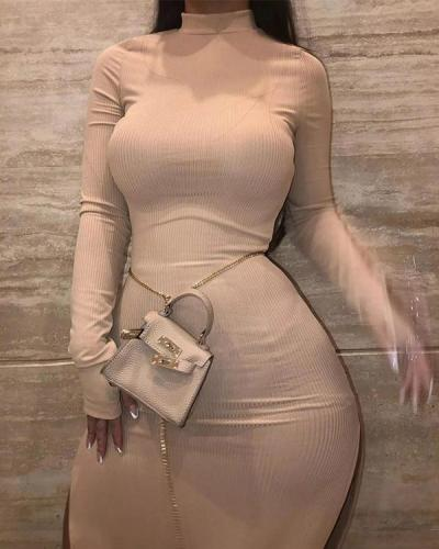 Sexy Split Pit Strip High Collar Solid Color Dress