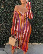 Sexy Print Strapless Pencil Skirt Dress