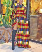 Trendy Turndown Collar Grid Print Trench Maxi Dress