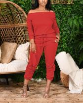 Off Shoulder Drawstring Waist Top & Pants Suits