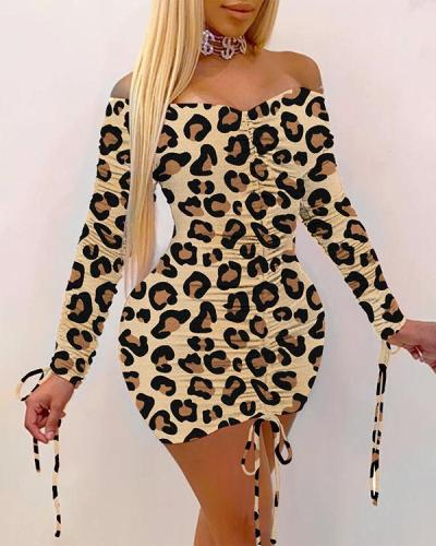Cute Leopard Print Sexy Pleated Dress