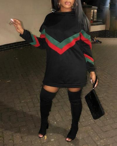 Side Zipper Design Plus Size Stripe Patchwork Sweatshirt Dress