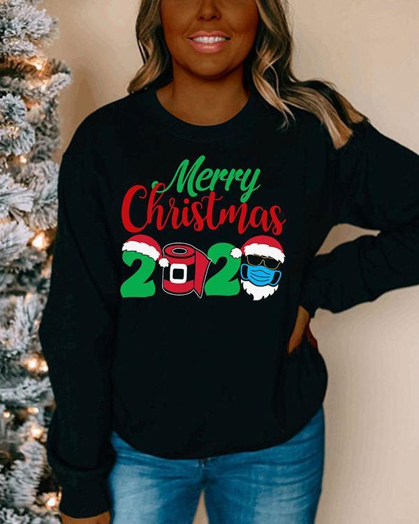 Printed Letter Round Neck Long Sleeve Sweater