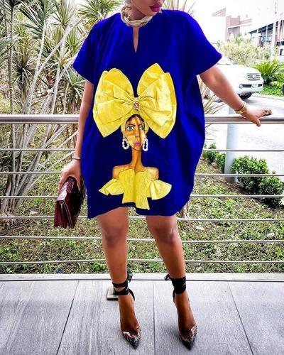 Printed Pocket Loose Dress