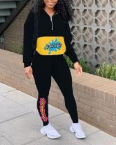 Colorblock Sports Sweatshirt Print Suit