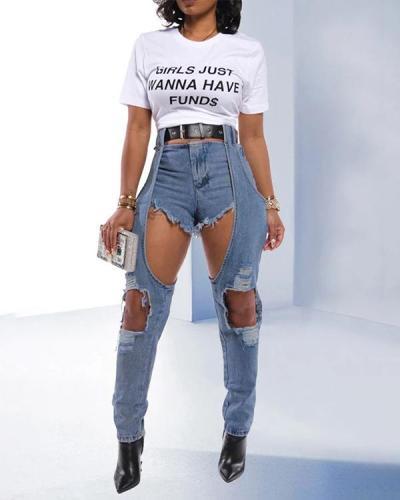 Patchwork Chic Irregular High Waist Ripped Jeans