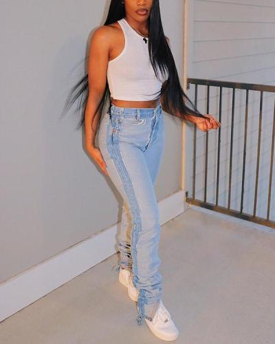 Denim Fringed Jeans Feminine Foot Pants
