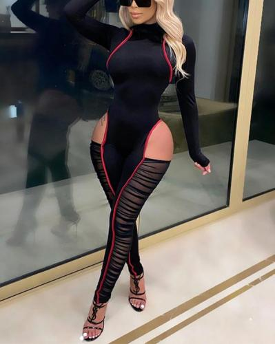 Knitted Striped Stitching Mesh Hollow Sexy Skinny Jumpsuit