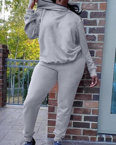 Zipper Diagonal Collar Long Sleeve Sports Suit