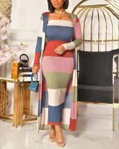 Sexy Pit Strip Print Color Matching Dress + Long Cardigan