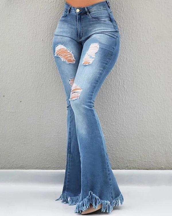 Slim-fit Denim Flared Jeans