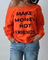 Slogan Boat-Neck Sweatshirt