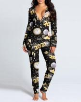 Allover Print Cut Out Snap Button Back Jumpsuit