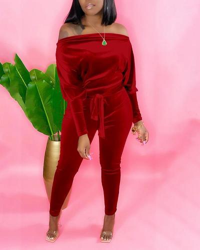 Fleece Fabric Off-shoulder Belt Jumpsuit