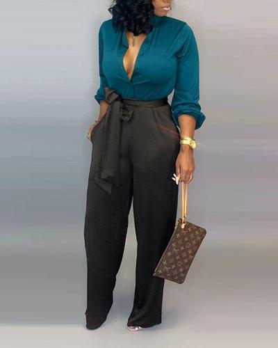 Shirt Blouse Lace-up Trousers Two-piece suit