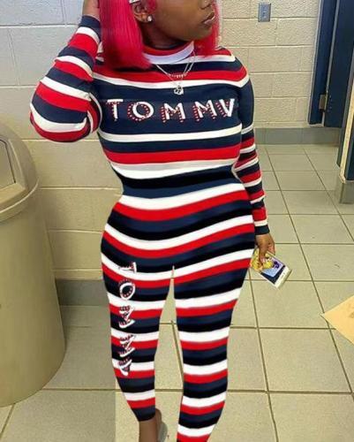 Striped Print Turtleneck Jumpsuit