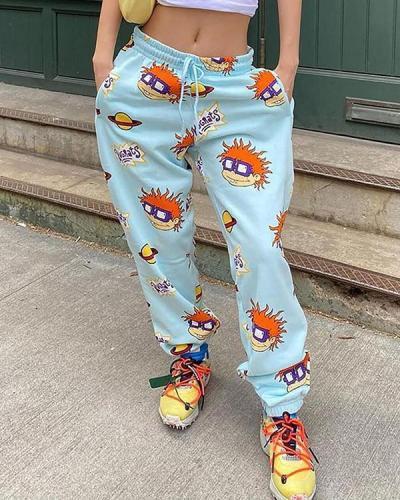 Casual Print Sports Pants