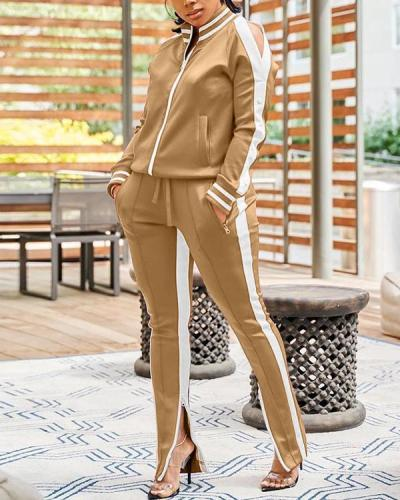 Long Sleeve Patchwork Mandarin Collar Casual Wear Set