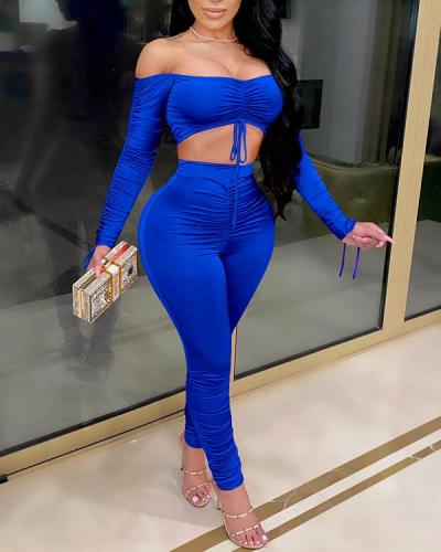 Folded Off-shoulder Drawstring Stacking Sleeves Lace-up Two-piece Suit