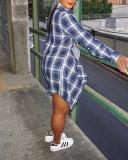 Regular Patchwork Plaid Lapel Long Sleeve Women's Shirt