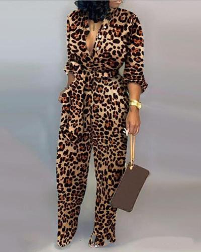 Leopard Print Long Sleeve Jumpsuit