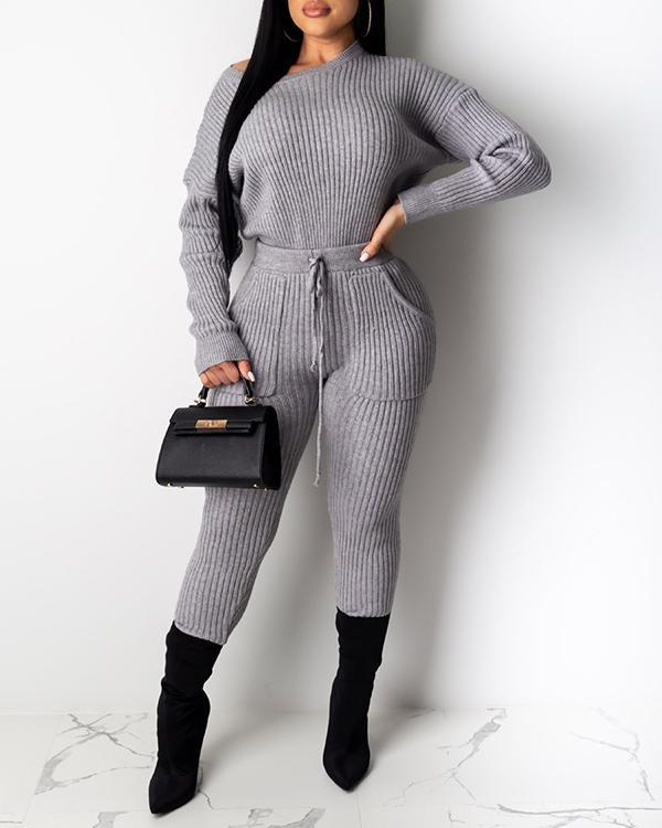 Long Sleeve Pit Striped Drawstring Trousers Suit