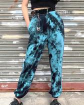 Tie-dyed High-waisted Harem Trousers Pants