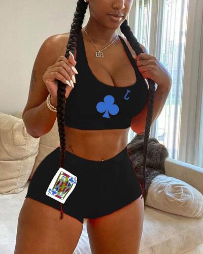 Sexy Fashion Poker Print Vest Shorts Set