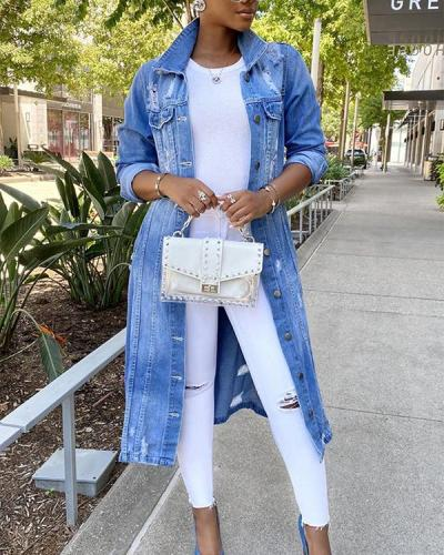Long Trench Coat Ripped Denim Jacket