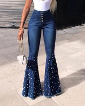 Stretch Beaded Flared Pants Jeans