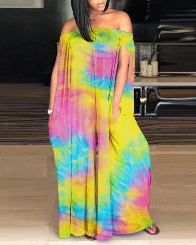 Sexy Off-shoulder Tie-dye Jumpsuit