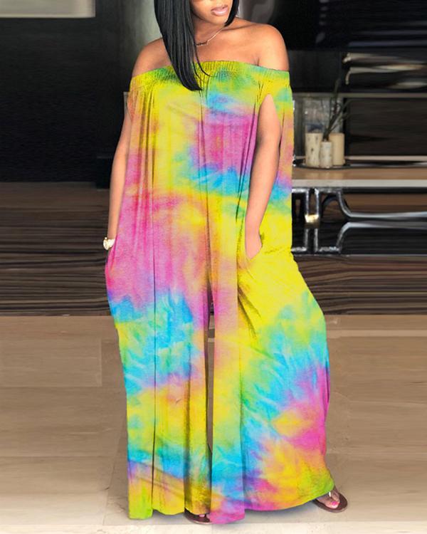 Sexy Off-shoulder Tie-dye Jumpsuit