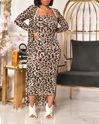Leopard Cardigan Bandeau Dress Set