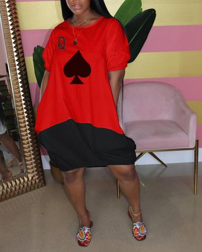 Spades Poker Bubble Dress Short Sleeve Contrast Color Dress