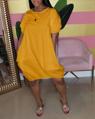 Solid Color Bubble Dress Short Sleeve Contrast Color Dress