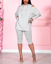 Daily Solid Hooded Collar Long Sleeve Two Pieces Set
