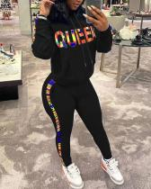 Color Letter Print Hooded Sports Two-piece Suit
