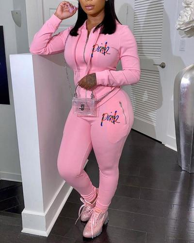 Solid Color Zipper Sports Sweatshirt Two-piece Suit