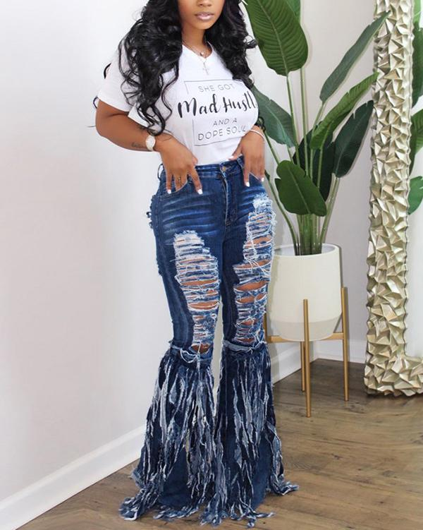 Fringed Denim Jeans Casual Flared Pants