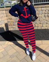 Stripe Print Hooded Pant Suit
