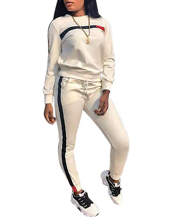 Fashion Casual Stitching Sports Suit
