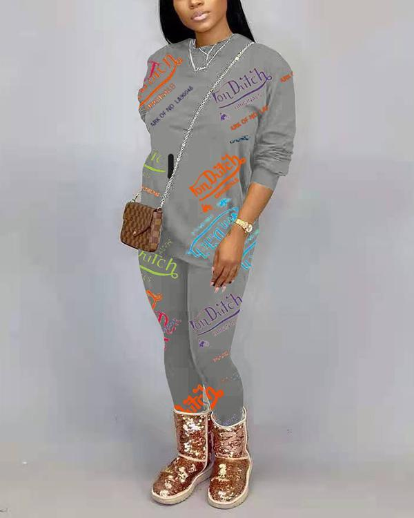 Letter Printed Long Sleeve Pant Suits