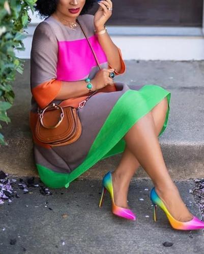 Fashion Casual Striped Printed Loose Dress