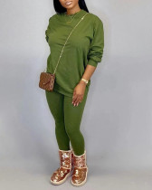 Fashion Casual Long Sleeve Solid Plus Size Set